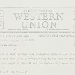 Telegram: 1928 October 2