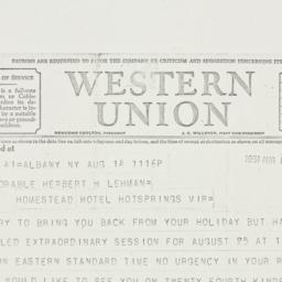 Telegram: 1931 August 15