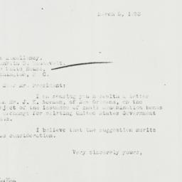 Letter: 1933 March 5