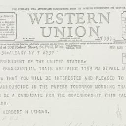 Telegram: 1934 August 7