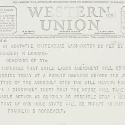 Telegram: 1937 February 22