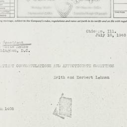 Telegram: 1940 July 18
