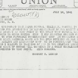 Telegram: 1941 July 16