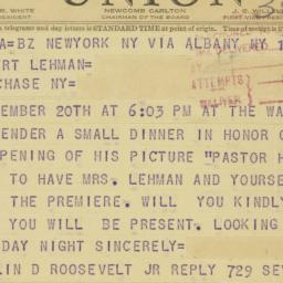 Telegram : 1949 September 15