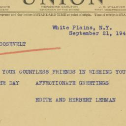 Telegram : 1940 September 21