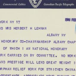 Telegram : 1941 February 17