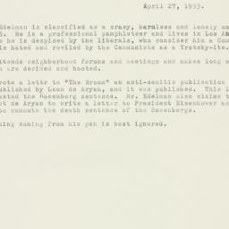 Memorandum : 1953 April 27