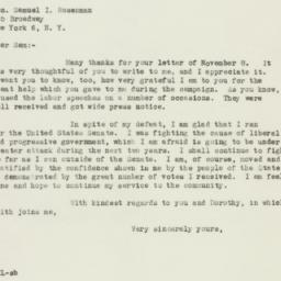 Letter : 1946 November 9
