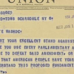 Telegram : 1954 January 9