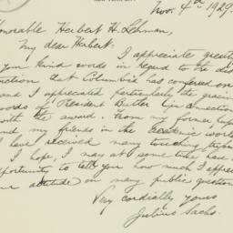 Letter : 1929 November 4