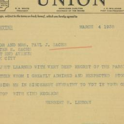 Telegram : 1935 March 4