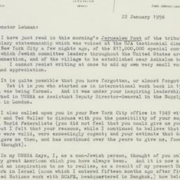 Letter: 1956 January 22