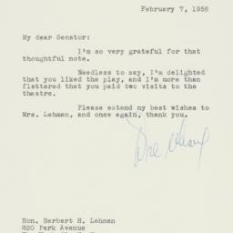 Letter : 1958 February 7