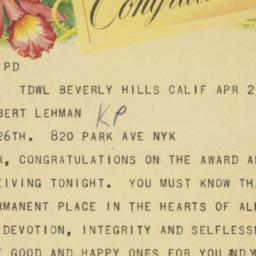 Telegram : 1958 April 25