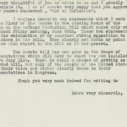 Letter : 1951 July 12