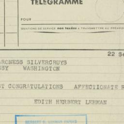 Telegram : 1953 September 22