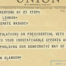 Telegram : 1952 June 25