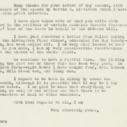 Letter : 1938 May 7