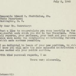 Letter : 1945 July 2