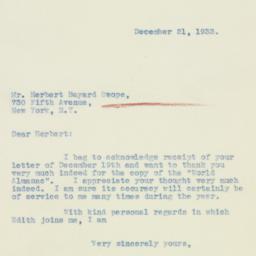 Letter : 1933 December 21