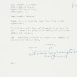 Letter : 1952 November 7