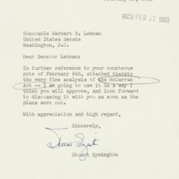 Letter : 1953 February 16