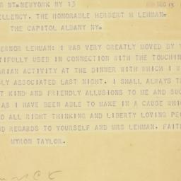 Telegram : 1939 December 13