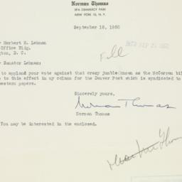 Letter : 1950 September 18