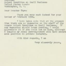 Letter : 1954 February 15