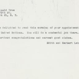 Telegram : 1961 February 18