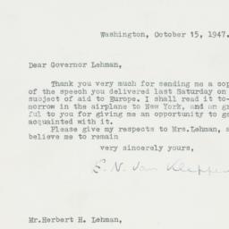 Letter : 1947 October 15