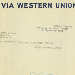 Telegram : 1953 September 9
