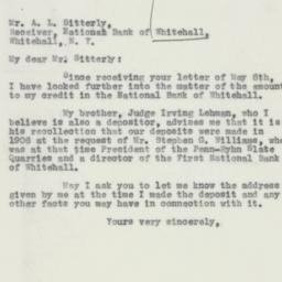 Letter : 1932 May 16