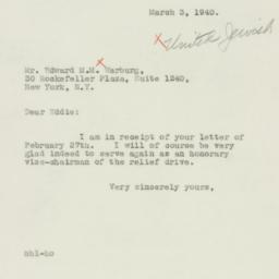 Letter : 1940 March 3