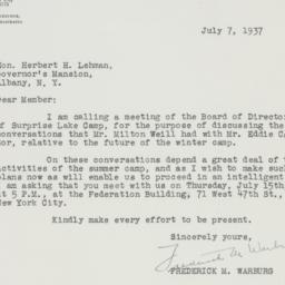 Letter : 1937 July 7
