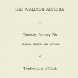 Invitation : 1941 January 7
