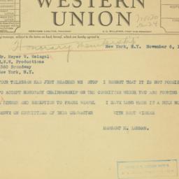 Telegram : 1935 November 6
