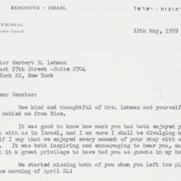Letter : 1959 May 12