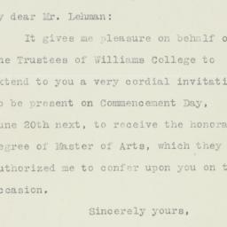 Letter : 1921 May 6