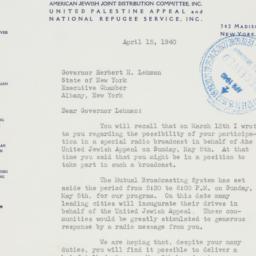 Letter : 1940 April 15