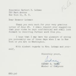 Letter : 1960 August 2