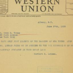 Telegram : 1935 June 27