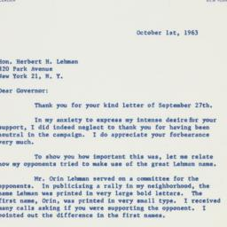 Letter : 1963 October 1