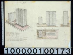 Perspective, plan & elevations of an unknown building