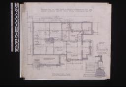 Foundation plan; detail of chimney footing; details of foundation vents -- elevation of corner\, section :1.