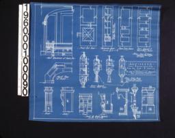 Detail drawings -- half elevation of seat\, etc.; front entrance door; veranda doors; rear entry doors; first\, second & third story doors; half plan of seat; seat & arch details; door details.