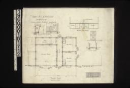 """Barn -- floor plan\, 1/2 in. scale detail of mangers\, elevation of box stalls from passage\, elevation of batten doors in 2 sections\, section at """"A-A""""."""