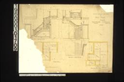 1/2 inch scale details of back stairs -- elevation looking south\, plan\, elevation looking west\, second floor plan : No. 23.