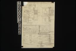 """1 1/2"""" scale details -- staircase; cornice\, etc.; balcony; detail of stoop :Sheet no. 9."""