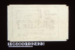 """1 1/2 inch scale details of desk -- plan\, fornt\, end; F.S. of cut at """"A"""" (see front elevation) :Sheet no. 8\,"""